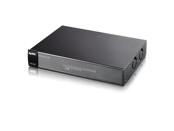 ZyXEL ES-1100-16P - Switch - nicht verwaltet - 8 x 10/100 (PoE) + 8 x 10/100 - Desktop, wandmontierbar - PoE