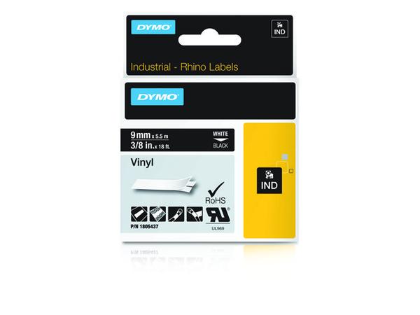 DYMO Rhino Coloured Vinyl - Vinyl - permanenter Klebstoff - Weiß auf Schwarz - Rolle (1 cm x 5,5 m) 1 Rolle(n) Band - für DYMO ILP219; Rhino 1000, 4200, 5000, 5200, 6000; RhinoPRO 1000, 3000,