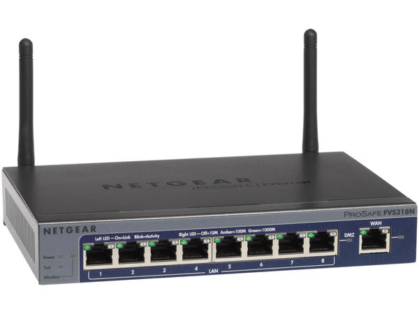NETGEAR ProSafe FVS318N - Wireless Router - 8-Port-Switch - GigE - 802.11b/g/n - 2,4 GHz