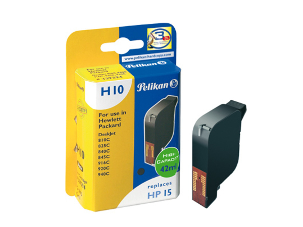 Pelikan H10 - 42 ml - Schwarz - Tintenpatrone (entspricht: HP 15 ) - für HP Deskjet 81X; Digital Copier 310; Officejet 51XX, v30, v45; psc 500, 720, 750, 760, 950