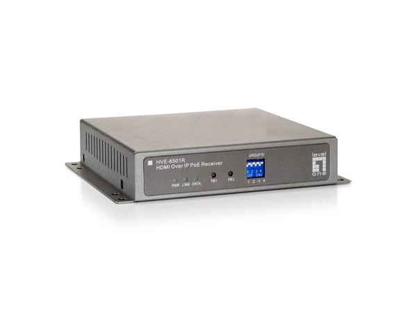 LevelOne HVE-6501R HDMI over IP PoE Receiver - Video Extender - Fast Ethernet, Gigabit Ethernet - 100Base-TX, 1000Base-T - für LevelOne GEP-2450