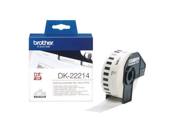 Brother DK-22214 - Weiß - Rolle (1,2 cm x 30,5 m) Thermopapier - für Brother QL-1050, QL-500, QL-550, QL-560, QL-650, QL-700, QL-710, QL-720