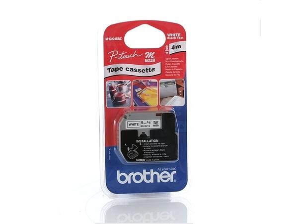Brother MK221S - Nicht-laminiertes Schriftband - Schwarz auf Weiß - Rolle (0,9 cm x 4 m) 1 Rolle(n) - für P-Touch PT-55, PT-65, PT-75, PT-80, PT-85, PT-BB4, PT-M95