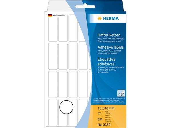 HERMA Vielzwecketiketten 13x40 mm weiß Papier matt Handbeschriftung 896 St., Weiß, Abgerundetes Rechteck, Zellulose, Papier, Deutschland, 13 mm, 40 mm