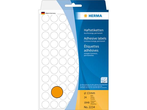 HERMA - Etiketten - permanent adhesive - Luminous Orange - 13 mm rund 1848 Etikett(en) (24 Bogen x 77)