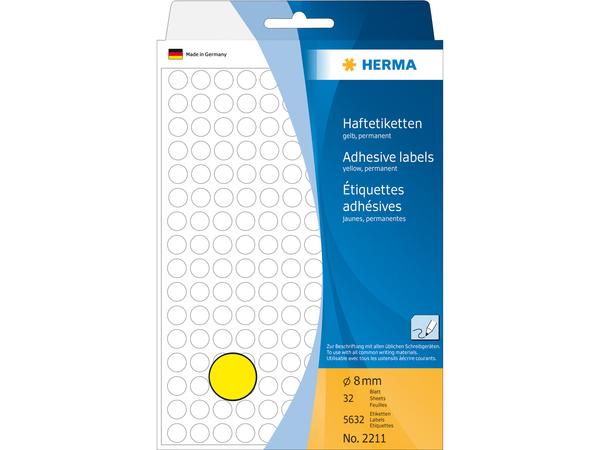 HERMA - Runde Etiketten - Papier - permanent self-adhesive - Gelb - 8 mm rund 5632 Etikett(en) (32 Bogen x 176)