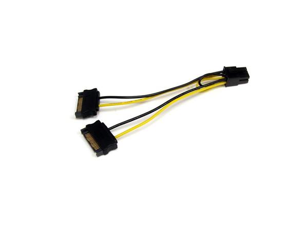 StarTech.com SATA Strom auf 6 pin PCI Express Grafikkarten Stromkabel - PCIe Y-Kabel Adapter - Stromkabel - SATA Leistung (M) bis 6-poliges PCIe Power (M) - 15 cm