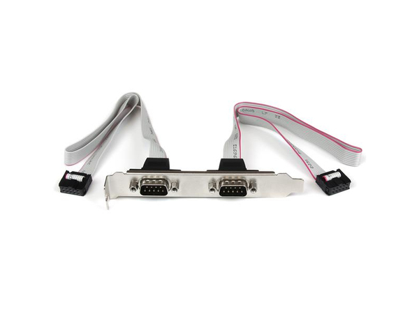 StarTech.com 2 Port Seriell DB9 Slotblech mit 10 Pin Pinheader Kabel - Serielles Bedienfeld - DB-9 (M) bis 10 PIN IDC (W) - 40.64 cm - Grau