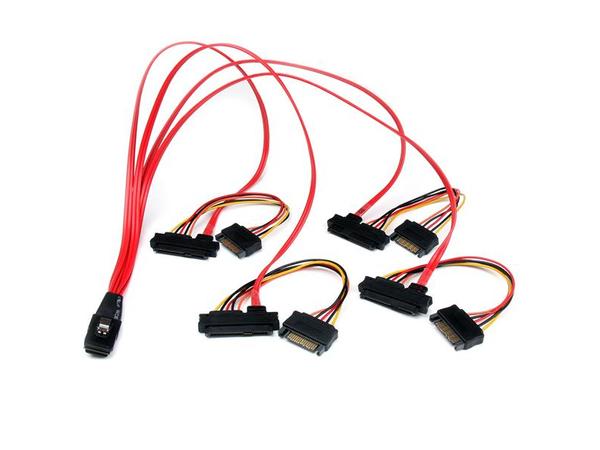 StarTech.com 50cm Serial Attached SCSI Mini SAS Cable SFF8087 to 4x SFF8482 - Internes SAS-Kabel - SAS 6Gbit/s - 36 PIN 4iMini MultiLane (S) bis SATA Leistung, interne SAS, 29-polig (SFF-8482)