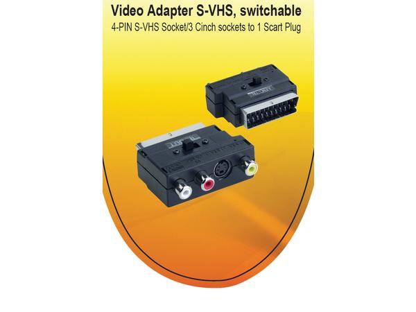 V7 - Video- / Audio-Adapter - SCART (M) bis 4-poliger mini-DIN, RCA x 3 (W) - Schwarz