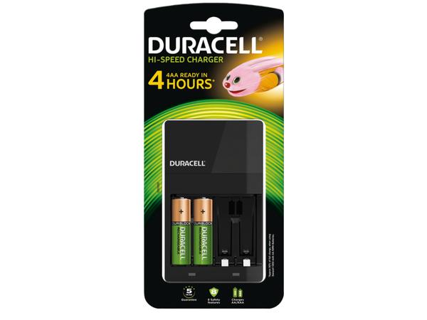 Duracell CEF14 - Batterieladegerät - 4 Std. - 4xAA/AAA - enthaltene Batterien: 2 x AA-Typ NiMH