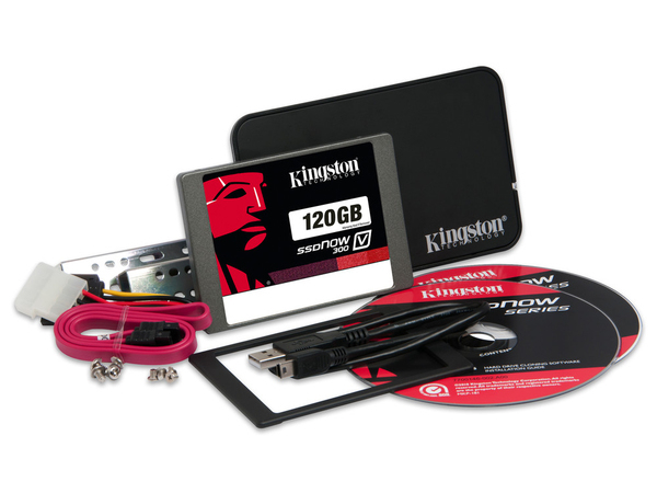 Kingston SSDNow V300 Desktop/Notebook Upgrade Kit - Solid-State-Disk - 120 GB - intern - 6.4 cm (in 8,9 cm Träger) (2.5