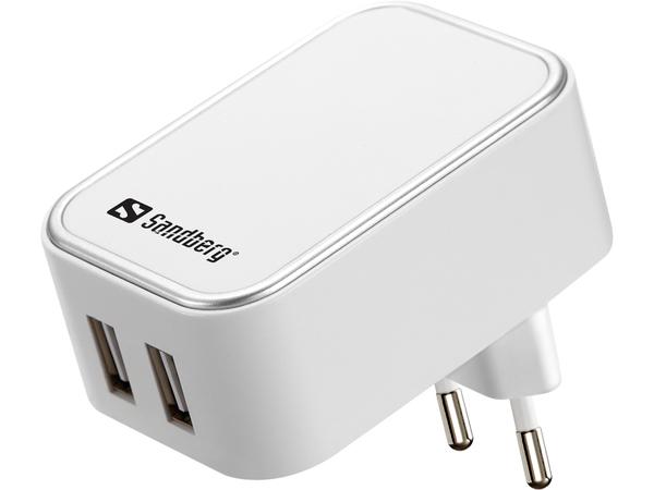 Sandberg AC Charger Dual - Netzteil - 2 A - 2 Ausgabeanschlussstellen (USB (nur Strom)) - Europa