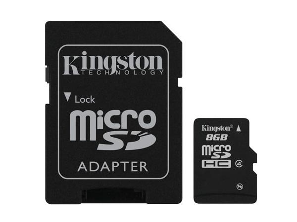 SD MicroSD Card   8GB Kingston SDHC     (Class 4) m. Adapter retail