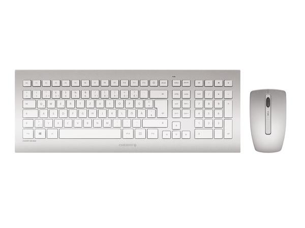 CHERRY DW 8000 - Tastatur-und-Maus-Set - drahtlos - 2.4 GHz - Deutsch - weiß, Silber