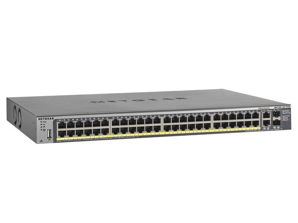 NETGEAR ProSAFE FSM7250P 48-Port Fast Ethernet PoE Managed Switch - Switch - L2+ - verwaltet - 48 x 10/100 (PoE) + 2 x 10/100/1000 + 2 x Shared SFP - Desktop, an Rack montierbar
