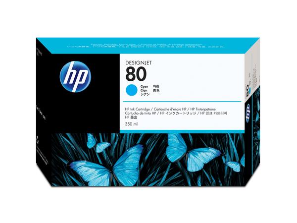 HP 80 - 350 ml - Cyan - Original - Tintenpatrone - für DesignJet 1050c, 1050c plus, 1055cm, 1055cm plus