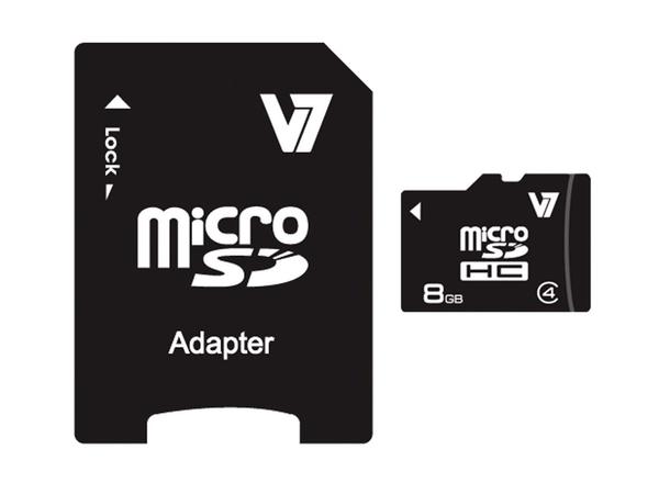 V7 MICROSD CARD 8GB SDHC CL4