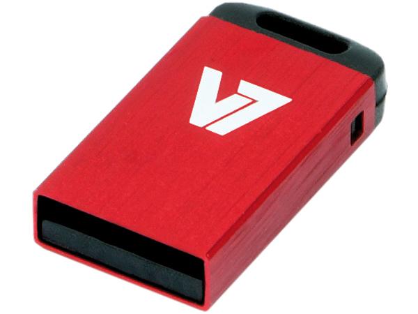 V7 VU216GCR-RED-2E - Nano USB-Flash-Laufwerk - 16 GB - USB 2.0 - Rot