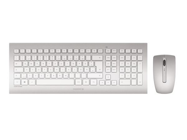 CHERRY DW 8000 - Tastatur-und-Maus-Set - drahtlos - 2.4 GHz - Frankreich - weiß, Silber
