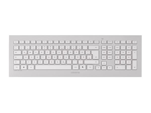 CHERRY DW 8000 - Tastatur-und-Maus-Set - drahtlos - 2.4 GHz - Schweiz - weiß, Silber