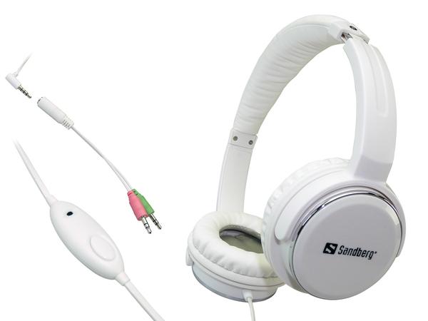 Sandberg Homen Street - Headset mit Mikrofon - Full-Size - verkabelt - weiß