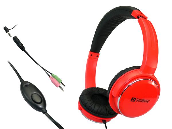 Sandberg Homen Street - Headset - Full-Size - Rot