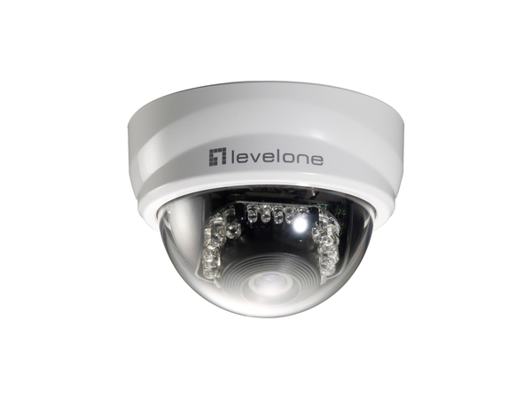 LevelOne PT-Dome-Netzwerkkamera, 2 Megapixel, 802.3af PoE, Tag/Nacht, IR-LEDs, IP security camera, Innen & Außen, Kuppel, Schwarz, Weiß, Desk/Ceiling, Link, Leistung