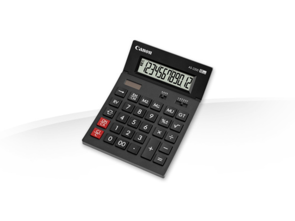 Canon AS-2200 - Desktop-Taschenrechner - 12 Stellen - Solarpanel, Batterie - Dunkelgrau