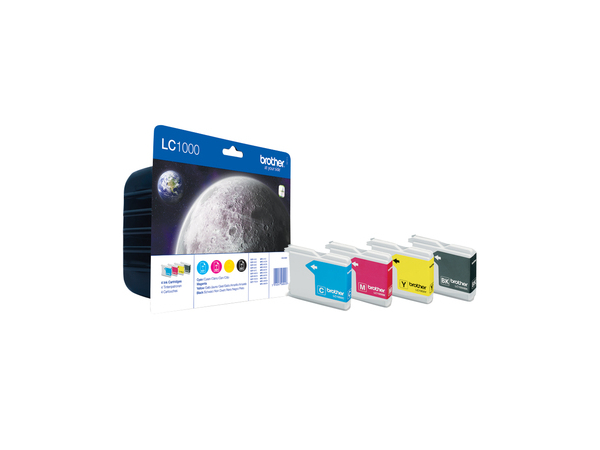 Brother LC1000 Value Pack - 4er-Pack - Schwarz, Gelb, Cyan, Magenta - Original - Tintenpatrone - für Brother DCP-330, 350, 353, 560, 750, 770, MFC-3360, 465, 5460, 5860, 660, 680, 845, 885