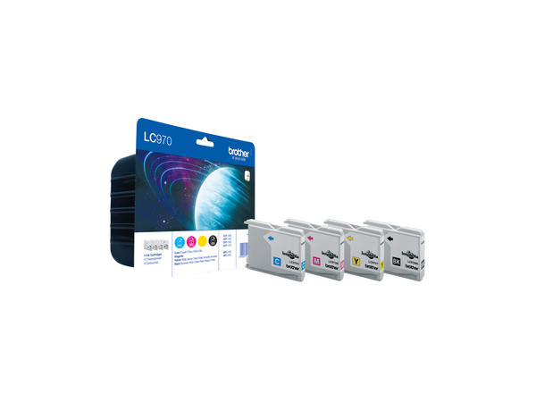 Brother LC970 Value Pack - 4er-Pack - Schwarz, Gelb, Cyan, Magenta - Original - Tintenpatrone - für Brother DCP-135C, DCP-150C, DCP-153C, MFC-235C, MFC-260C