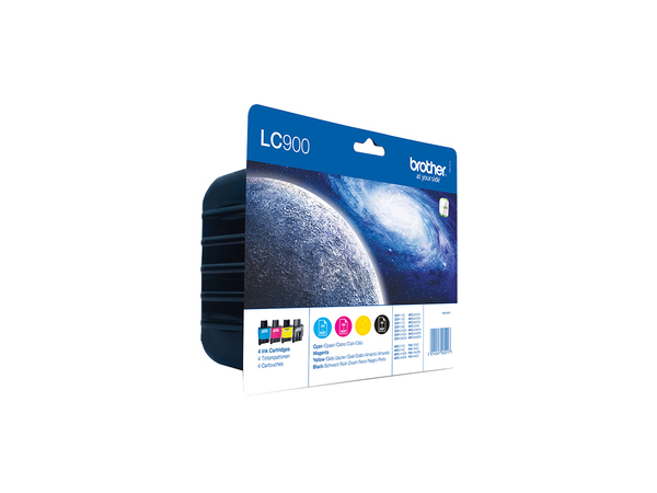 Brother LC900Valuepack - 4er-Pack - Schwarz, Gelb, Cyan, Magenta - Original - Tintenpatrone - für Brother DCP-110, 310, 340, MFC-210, 3240, 3340, 410, 425, 5440, 5840, 620, 640, 820