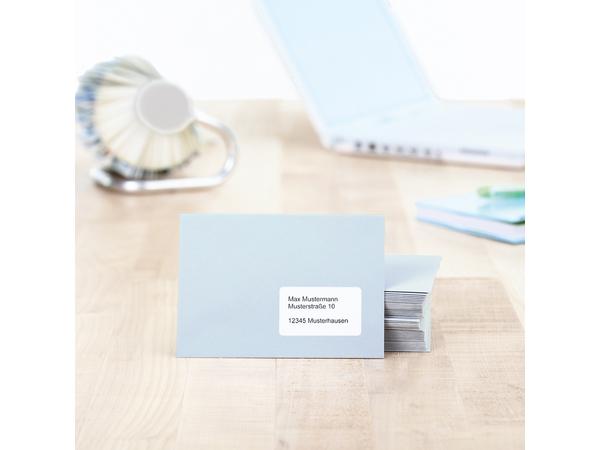 HERMA Adressetiketten Premium A4 63.5x33.9 mm weiß Papier matt 600 St., Weiß, Papier, Laser/Inkjet, Matt, Dauerhaft, Abgerundetes Rechteck