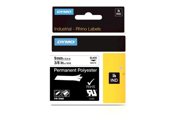 DYMO Rhino - Permanent tape - Polyester - Schwarz auf Weiß - Rolle (0,9 cm x 5,5 m) 1 Rolle(n) - für Rhino 4200, 6000, 6000 Hard Case Kit