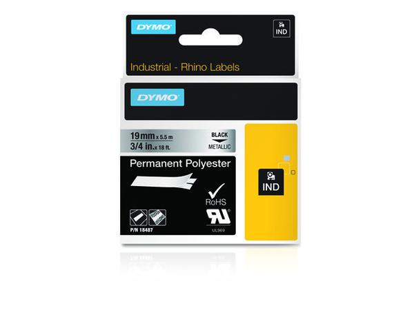 DYMO - Polyester - permanenter Klebstoff - Schwarz auf Silber - Roll (1.9 cm x 5.5 m) 1 Rolle(n) Permanentband - für Rhino 4200, 6000, 6000 Hard Case Kit; RhinoPRO 5000