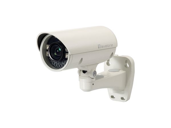 LevelOne Zoom-Netzwerkkamera, 2 Megapixel, Outdoor, 802.3af PoE, Tag/Nacht, IR-LEDs, 10fachen Optischen Zoom, IP security camera, Outdoor, Geschoss, Weiß, Decke/Wand, IP66