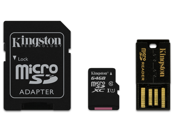 Kingston Multi-Kit / Mobility Kit - Flash-Speicherkarte (microSDXC-an-SD-Adapter inbegriffen) - 64 GB - UHS Class 1 / Class10 - microSDXC UHS-I - mit USB Reader