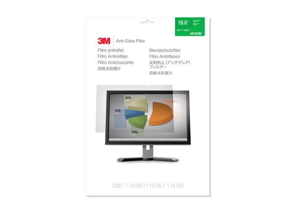 3M AG19.0W - Display-Blendschutzfilter - 48,3 cm Breitbild (19 Zoll Breitbild) - klar