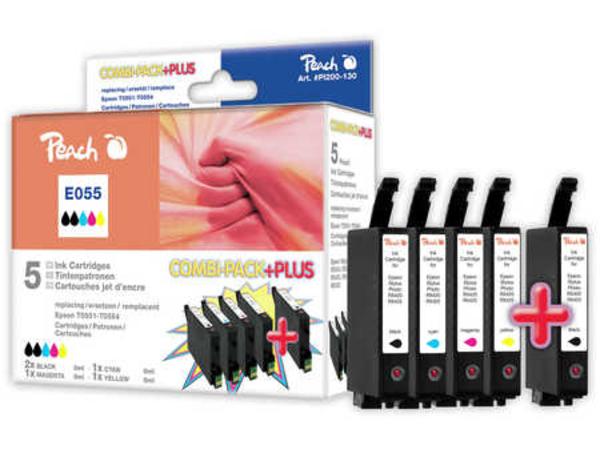 Peach Combi-Pack PLUS - 5er-Pack - Schwarz, Gelb, Cyan, Magenta - Tintenpatrone (Alternative zu: Epson T0551, Epson T0552, Epson T0553, Epson T0554, Epson T0556) - für Epson Stylus Photo R240,