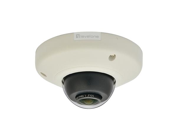 LevelOne Panoramic Dome Network Camera, 5-Megapixel, Outdoor, PoE 802.3af, WDR, Vandalproof, Vibrationproof, IP security camera, Outdoor, Kuppel, Schwarz, Weiß, Zimmerdecke, Schockresistent, V