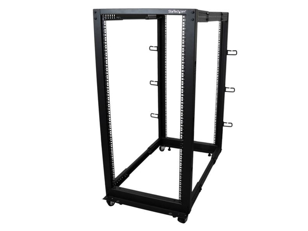 StarTech.com 25U Adjustable Depth Open Frame 4 Post Server Rack - Relais-Rack - Schwarz - 25U