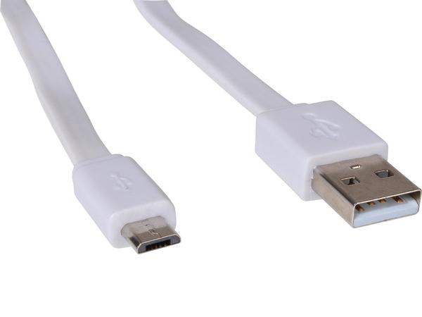 Sandberg Flat - USB-Kabel - Micro-USB Type B (M) bis USB (M) - 15 cm - flach - weiß