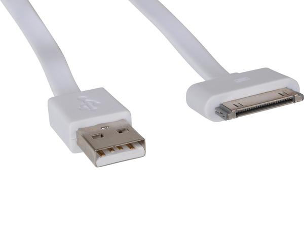Sandberg - Lade-/Datenkabel - USB (M) bis Apple Dock (M) - 15 cm - weiß - flach