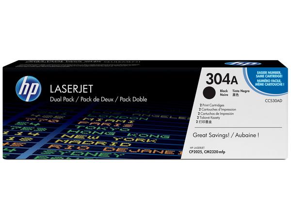 HP 304L - Economy - Schwarz - Original - LaserJet - Tonerpatrone (CC530L) - für Color LaserJet CM2320fxi, CM2320n, CM2320nf, CP2025, CP2025dn, CP2025n, CP2025x
