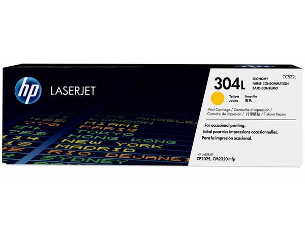 HP 304L - Economy - Gelb - Original - LaserJet - Tonerpatrone (CC532L) - für Color LaserJet CM2320fxi, CM2320n, CM2320nf, CP2025, CP2025dn, CP2025n, CP2025x