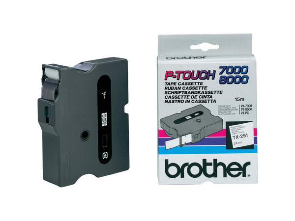 Brother TX251 - Schwarz auf Weiß - Rolle (2,4 cm) laminiertes Band - für P-Touch PT-30, PT-7000, PT-8000, PT-PC
