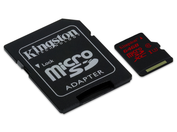 Kingston - Flash-Speicherkarte (microSDXC-an-SD-Adapter inbegriffen) - 64 GB - UHS Class 3 - microSDXC UHS-I