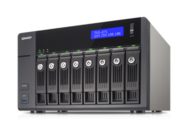 QNAP TVS-871 - NAS-Server - 8 Schächte - SATA 6Gb/s - RAID 0, 1, 5, 6, 10, JBOD, 5 Hot Spare - Gigabit Ethernet
