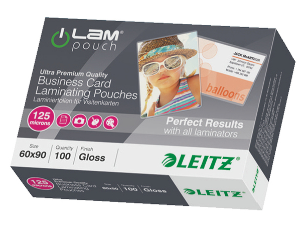 Leitz - Laminierte Karte - 125 Mikron - klar - 60 x 90 mm 100 Stck.