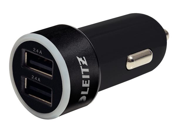 Leitz Complete universelles - Netzteil - Pkw - 2.4 A - 2 Ausgabeanschlussstellen (USB (nur Strom)) - Schwarz